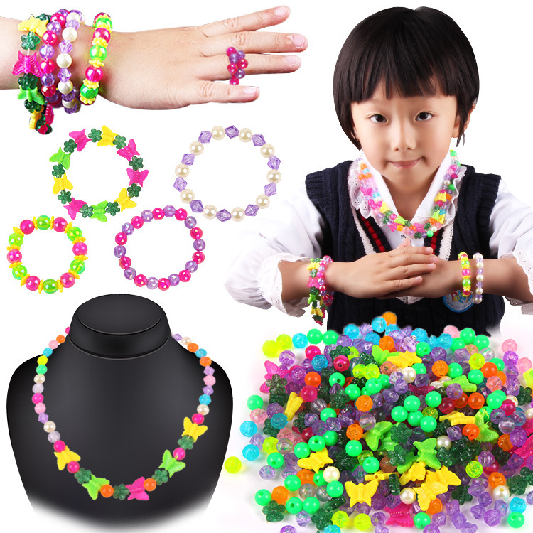 Children Hand-made Bead Toy GIRL'S Wear Beads Bracelets Necklace DIY Material Box Gift Educational Toy