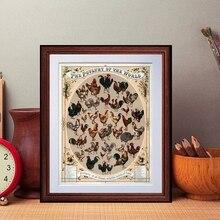 Vintage aves de corral del mundo imprimir póster Gallo gallina cría antigua granja casa pared arte lienzo pintura hogar Decoración