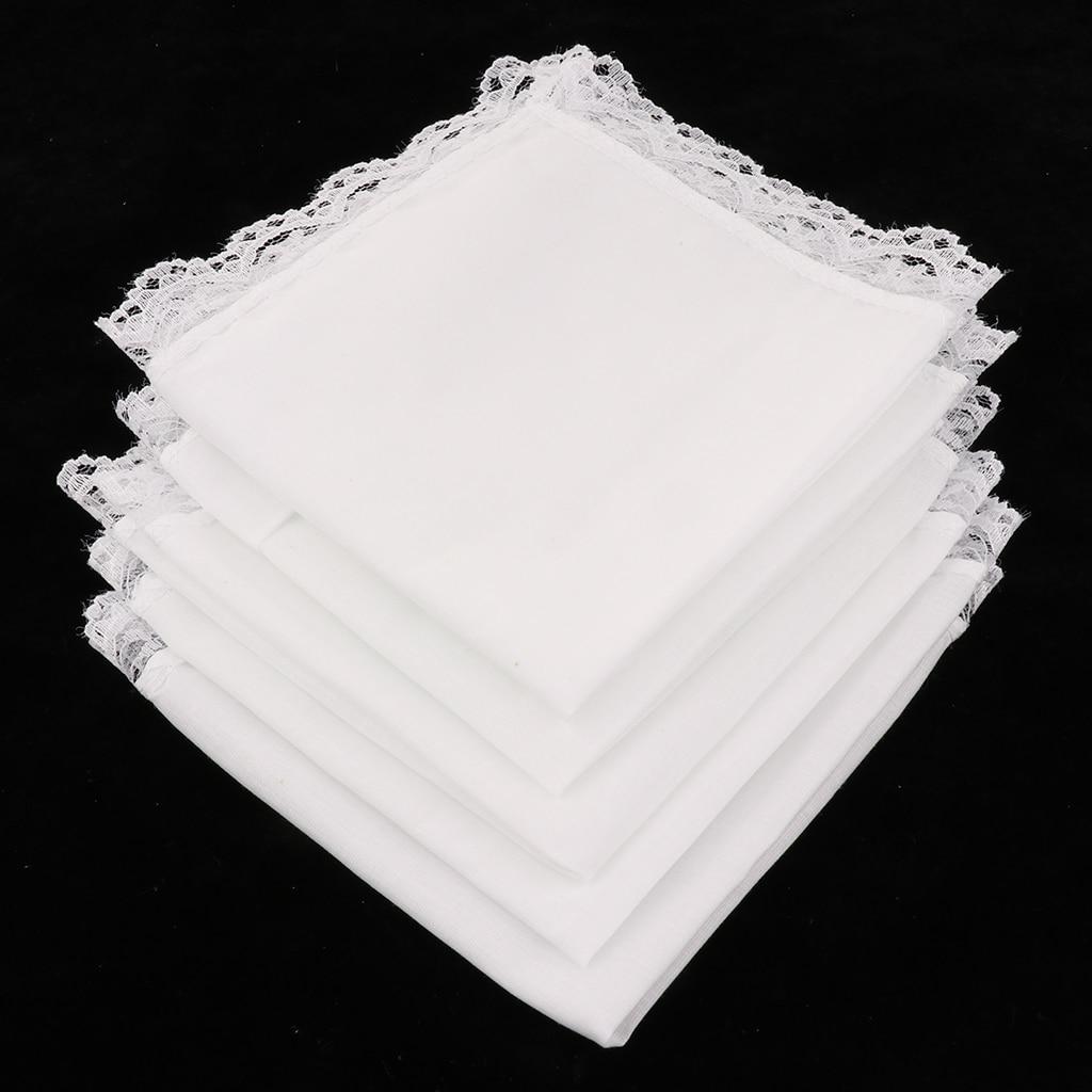 5pcs Ladies Embroidery Cotton Handkerchiefs 100% Cotton Solid Color White Lace Border Hanky Wedding Plain DIY Print Draw Hankies