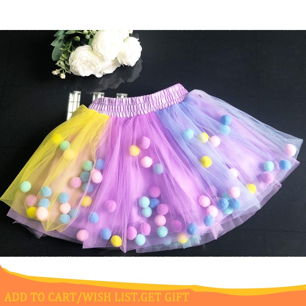 2020 New Arrival Infant Mulity Colorful Tulle Tutu Skirt Pom Pom Princess Mini Dress Children Clothing Pettiskirt Girl Clothes 1