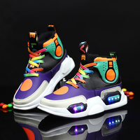 Mudipanda Children USB Charge Colorful Led Back Light Shoes Mesh Girls Flash Luminous Sneakers Boys Glowing Sneakers Kids Shoes