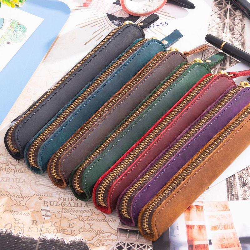 Handmade Leather Pencil Bag Vintage Retro Zipper Fountain Pen Brush Pouch Case