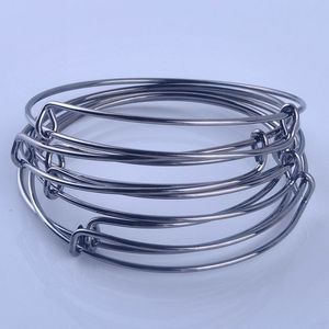 Image 5 - 100pcs Hot Sale Metals Gold color Silver color DIY Bangle for Beads or Charms Adjustable Expandable Wire Bracelets Bangles
