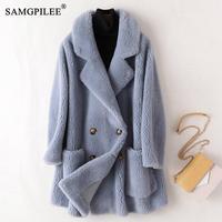 Cappotto in vera pelliccia cappotti in lana da donna australiana di alta qualità cappotto invernale da donna lungo spesso caldo elegante sciolto di grandi dimensioni