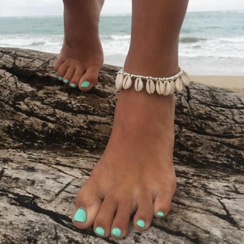 Женские аксессуары трендовый браслет для ног Cowrie пляжный ножной браслет натуральный корпус и деревянные бусины Цыганский браслет ножной браслет S26