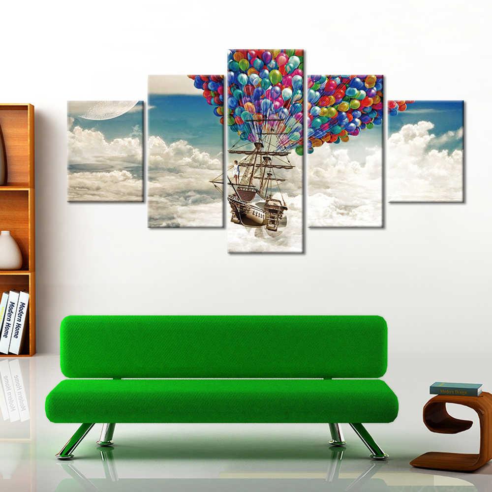 והדפסי בד ציור מודרני קיר אמנות 5 חתיכה צבעוני בלוני ספינת אוויר תמונה בד הדפסת בית תפאורה