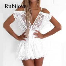 Rubilove Brazilian Beach Jumpsuit Women Sexy Deep V-Neck Transparent Lace Jumpsuits Summer Romper Womens Crochet Flower