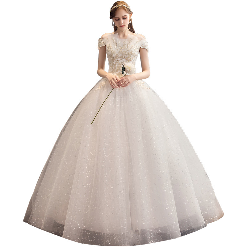 Classic Off White Sexy Boat Neck 2019 New Wedding Dress Luxury Lace Flower Embroidery Bride Gown Custom Made Robe De Mariee L
