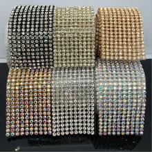 10Yards/Roll 10Yards  DIY Rhinestone Chain Dense Silver bottom sewing Rhinestones for clothing Art Decoration