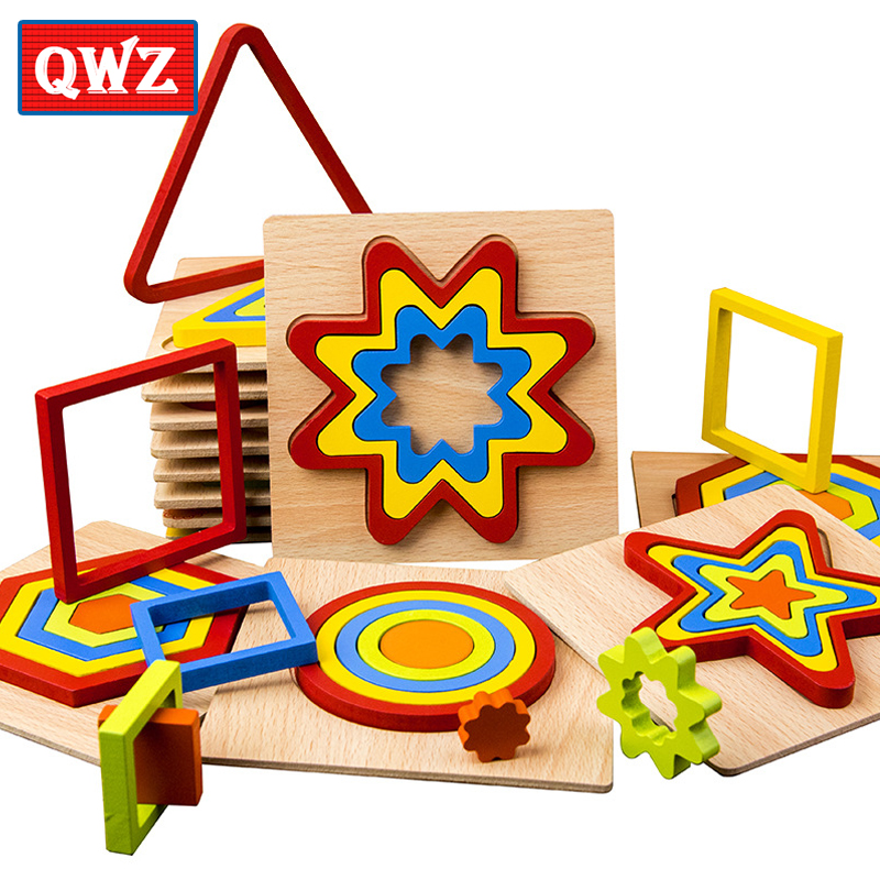 QWZ DIY Creative 3D Wooden Puzzle Geometric Shape Jigsaw Intelligence Develop Montessori Educational Toys For Children Kids Baby