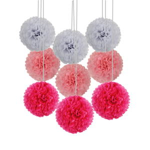 Image 2 - 9 unidades/juego de pompones de seda para boda, pompones de papel decorativos, pompones, bolas, fiesta, decoración del hogar, decoración de fiesta de cumpleaños