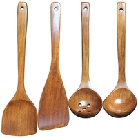 A Set of 4 Pieces  Kitchen Cooking Wooden Spatula Spoon  Wooden Flat Spatula  Oil Spill Spoon  Insulated Wooden Spatula  Lacquer Cooking Tool Sets Home & Garden -