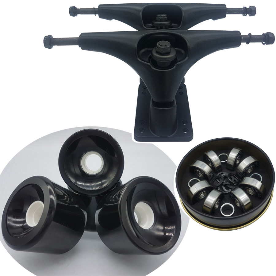 Good Quality Dish 6.25inch Surf Skate Longboard Trucks Plus 70mm High Rebound Longboard Wheels Plus ABEC-11 Skateboard Bearings