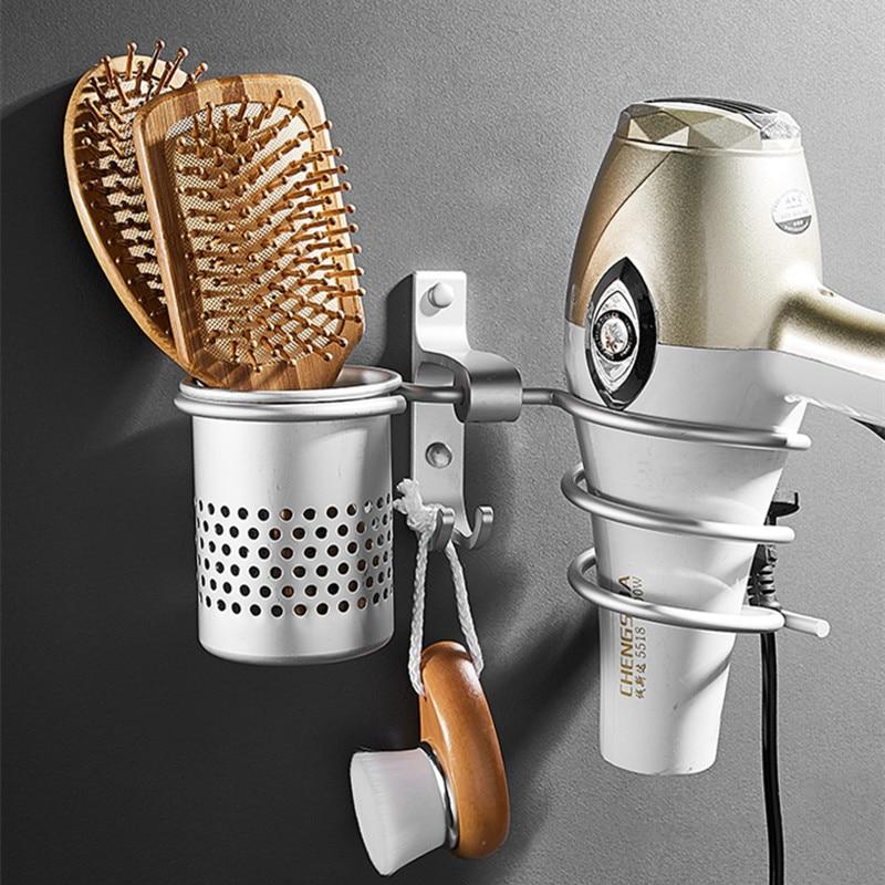 Hair Dryer Holder Wall Mount Bathroom Rack Shelf Organizer Space Aluminium Hairdryer Holder Rack Bathroom Accessories