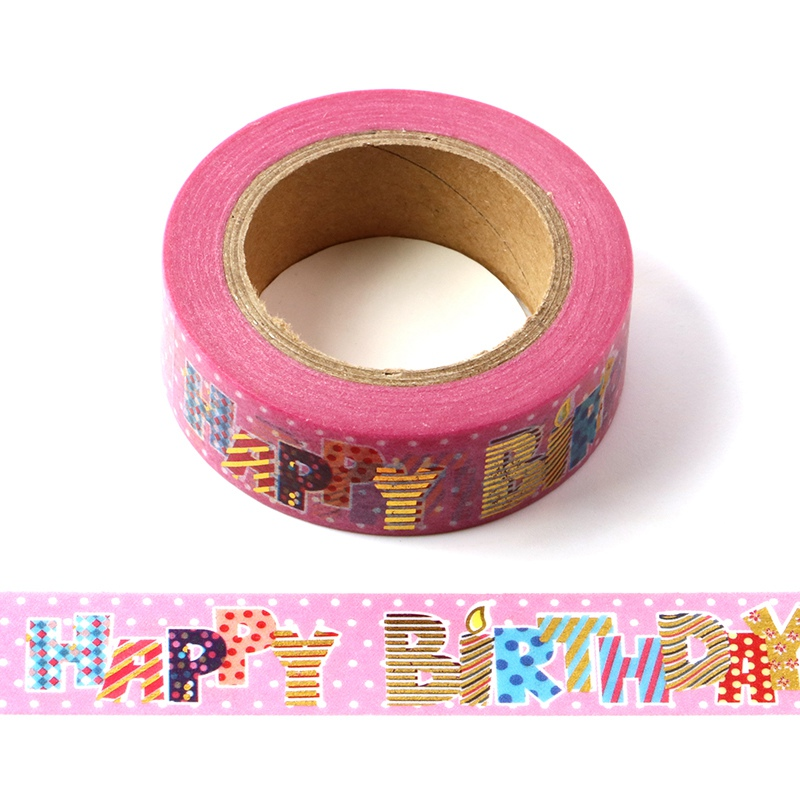 10M Decorative Foil Washi Tape HAPPY BIRTHDAY DIY Scrapbooking Sticker Label Japanese Masking Tape School Office Supply