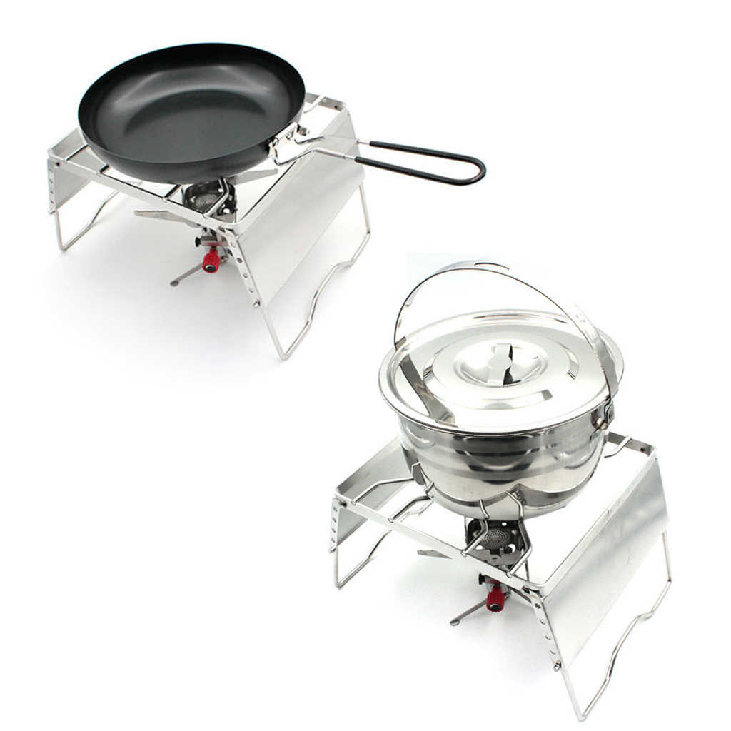 Camping Foldable Burner Stove Stand Rack Grill Roasting Baking Pot Bracket