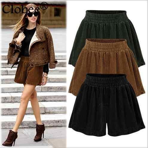 M-6XL plus size roupas femininas 2020 shorts de inverno de cintura alta shorts casuais veludo algodão shorts soltos wr293