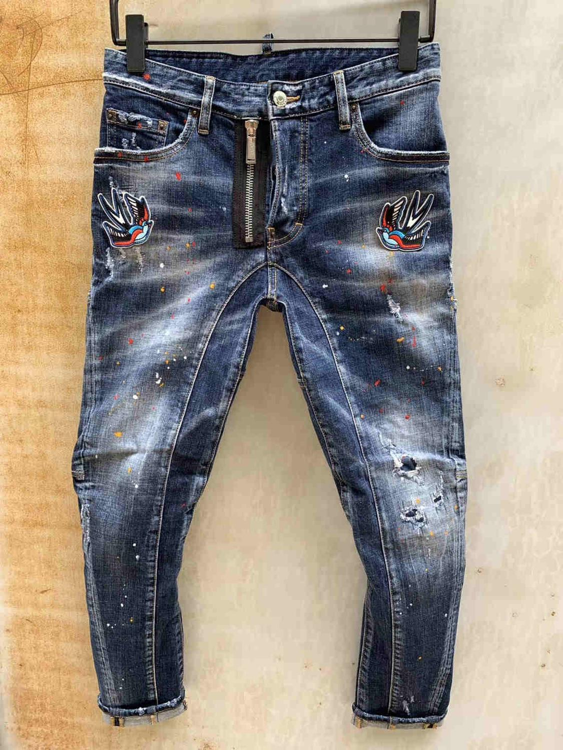 NEW Men Jeans Ripped For DSQ Men Skinny  D2 Jeans Pants Men Jeans Zipper Outwear Man Pants