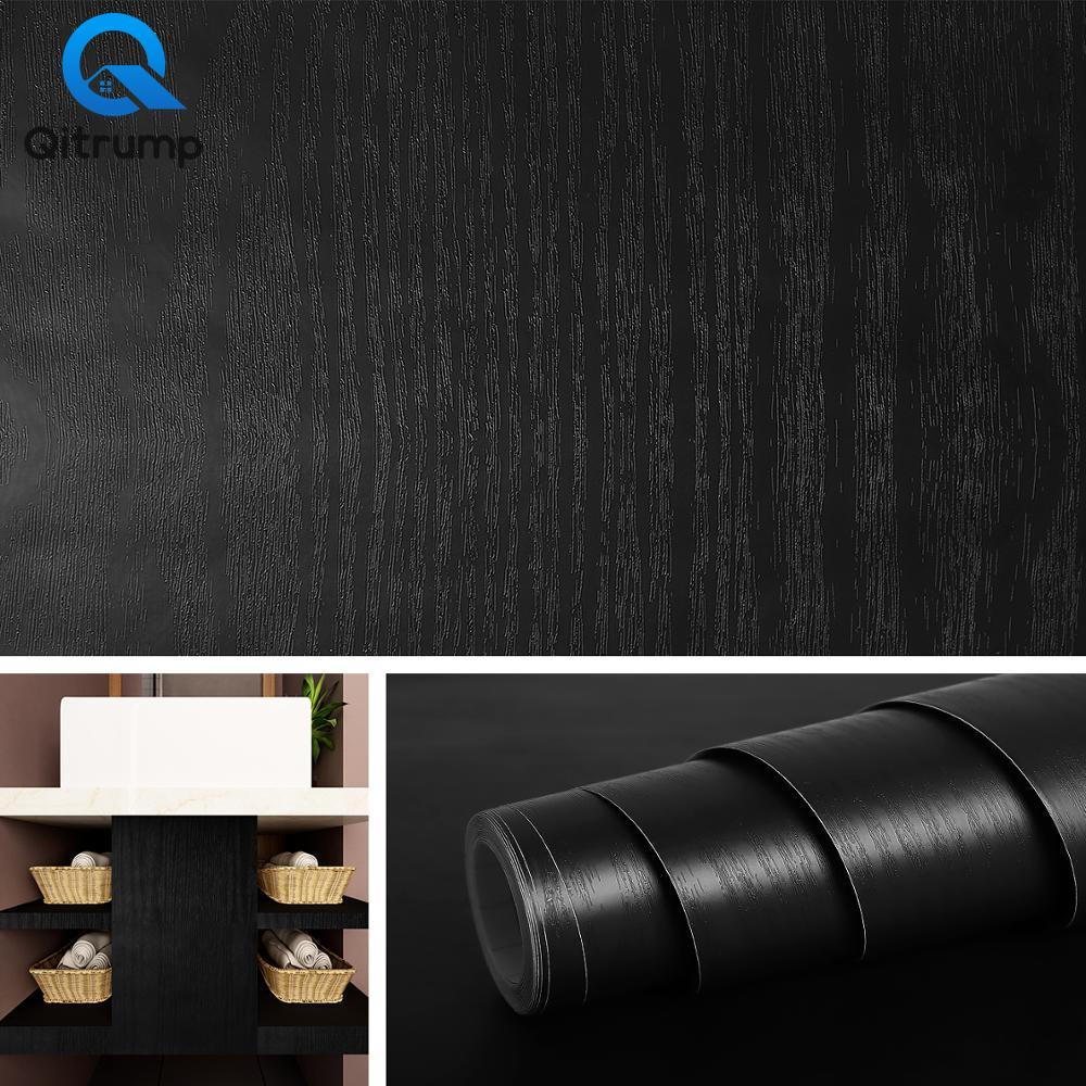 PVC Home Decor Self Adhesive Wallpaper Wood Grain Waterproof Stickers Furniture Renovation Kitchen Cabinets Wardrobe Door Decor