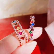 MENGJIQIAO Korean Delicate Colorful Micro Paved Zircon Adjustable Rings For Women Mid Finger Knuckle Rings Jewelry Gifts