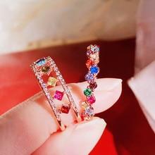 MENGJIQIAO-Anillos ajustables de circonita Micro pavimentada de colores delicados coreanos para mujer, nudillo del dedo corazón anillos joyas regalos
