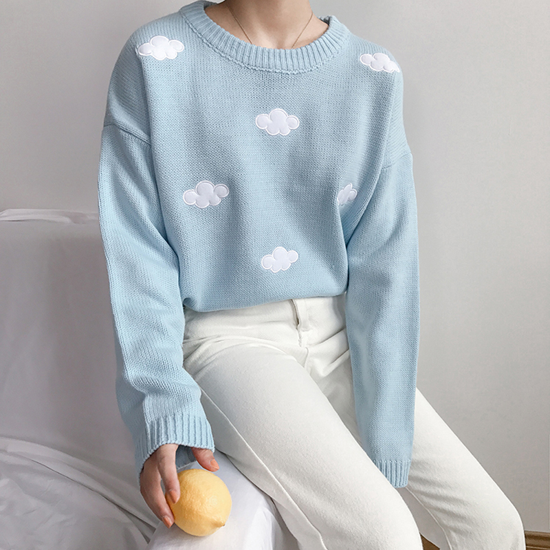 cute Clouds Korean style 2021 Women's Sweater Kawaii Loose Thick Harajuku Clothing For Women long sleeve vintage knitted sweater 3