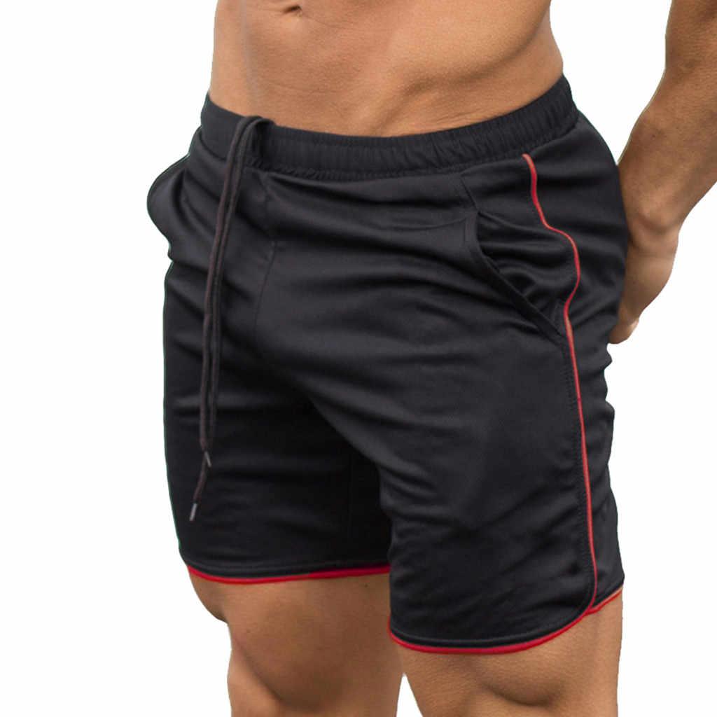 Letnie męskie spodenki męskie paski elastyczne liny Stretch spodnie z siatką Casual Gym sportowe oddychające spodenki w stylu ulicznym spodnie bermudy