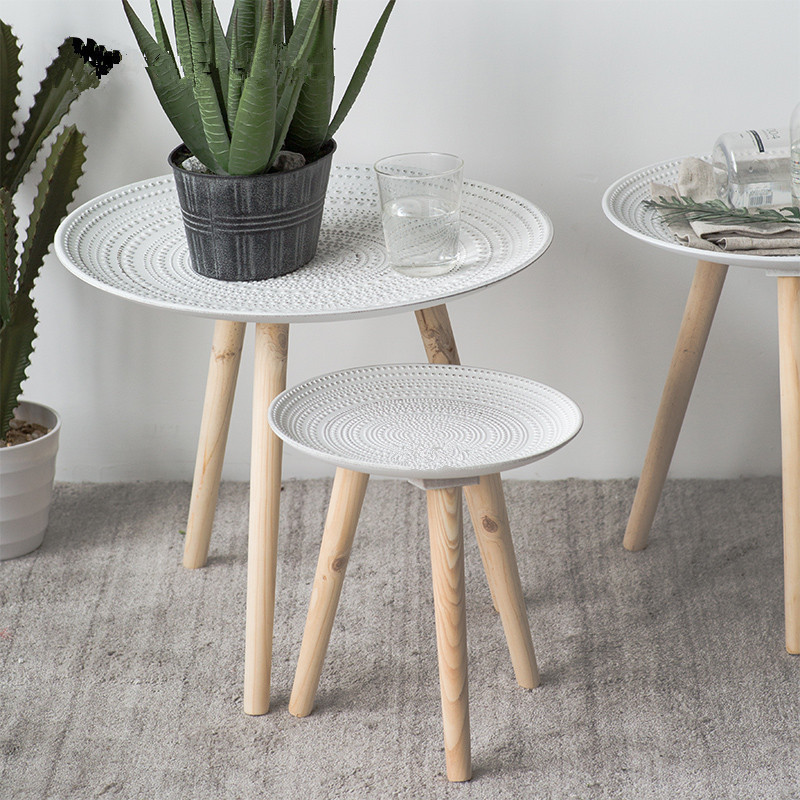 Creative Tray Small Table Placement Coffee Table Living Room Bedside Table Decoration Furniture Solid Wood Legs Round Table
