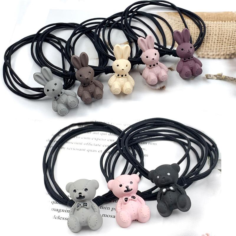 Cute Animal Hair Bear Rabbit Hair Ring Female Rubber Band Elastic Hair Bands Korean Headwear Children Hair Accessories Ornaments
