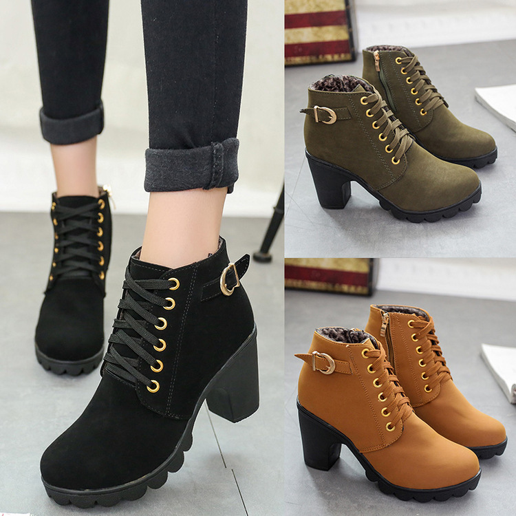 Boots Women Shoes Women Fashion High Heel Lace Up Ankle Boots Ladies Buckle Platform Artificial Leather
