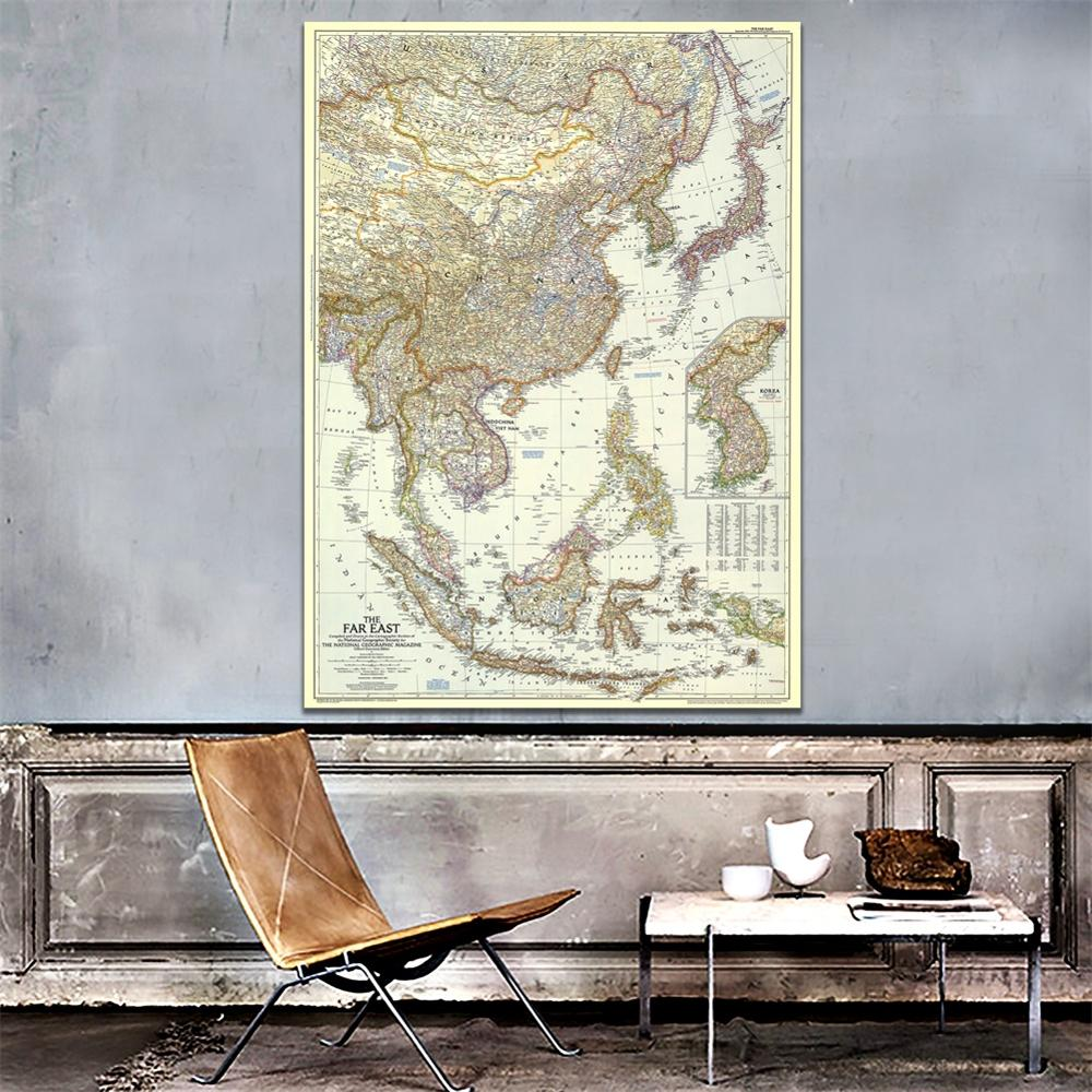 A1 Size HD Printed The Far East Map In 1952 Roll Packaged Creased-free Fine Canvas Wall Map For Home Decoration