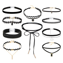 Gothic Simple Lace Choker Necklace Set For Women Minimalist Birthday Party Jewelry Set 2020 Newest european lace choker necklace set