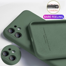 Para o iphone 11 12 pro caso de luxo original silicone líquido macio capa para o iphone 7 6s 8 plus x xr xs max à prova de choque caso telefone