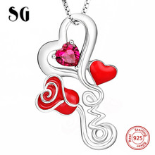 цена на SG Authentic 925 sterling silver love heart rose pendant chain necklace with CZ fashion jewelry making women gift FREE SHIPPING