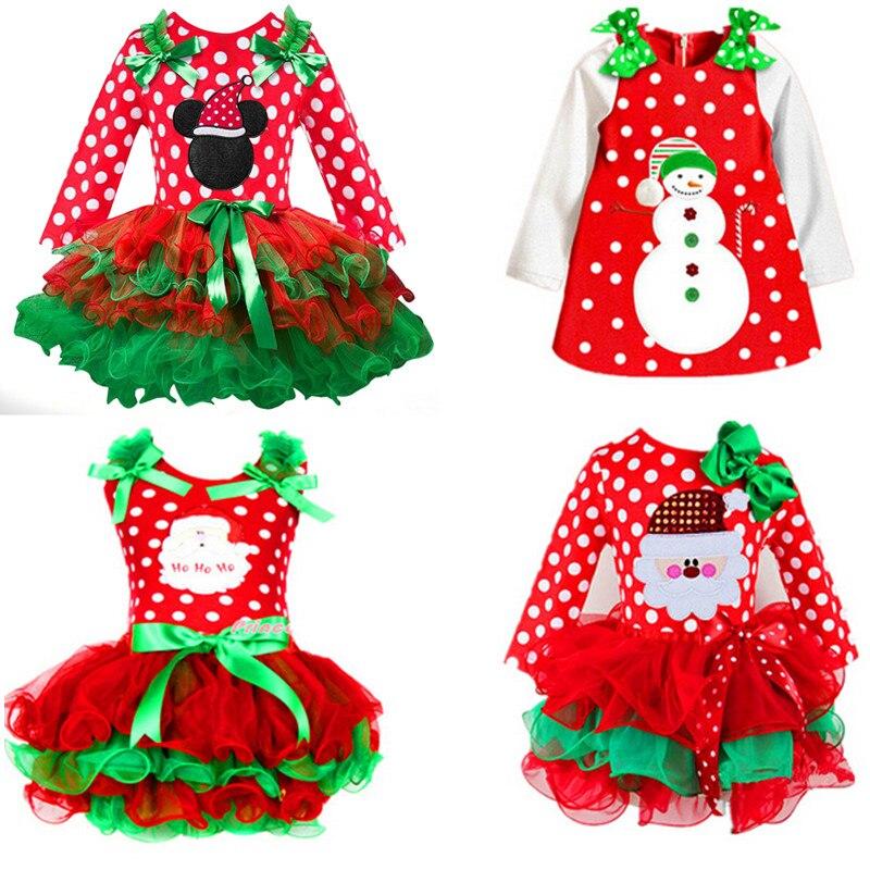 Puckcovi vestido da menina do natal vestido de noiva enfant crianças algodão dot vestido de menina meninas dot tutu santa clus traje