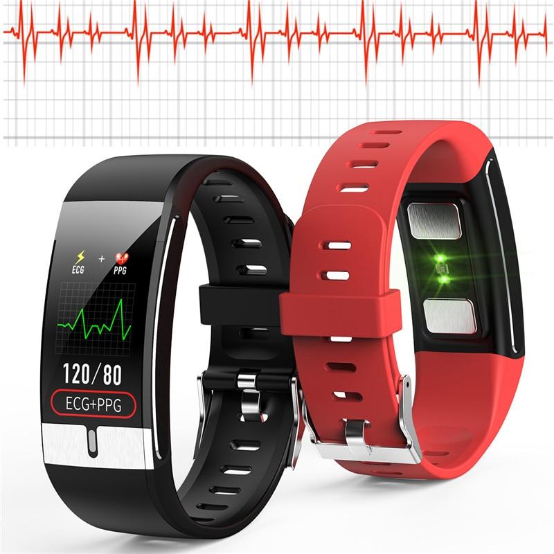 E66 relógio inteligente termômetro pulseira inteligente ecg pressão arterial oxigênio monitor de freqüência cardíaca pedômetro monitoramento passo