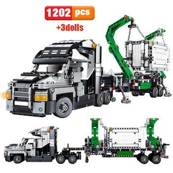 1202 sztuk miasto Big Truck inżynieria Buiding Blocks Technic Mark Container Vehicles figurki samochodów cegły zabawki dla dzieci