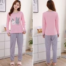Autumn Winter Pajama Set Women Thick Flannel Three Cat Print