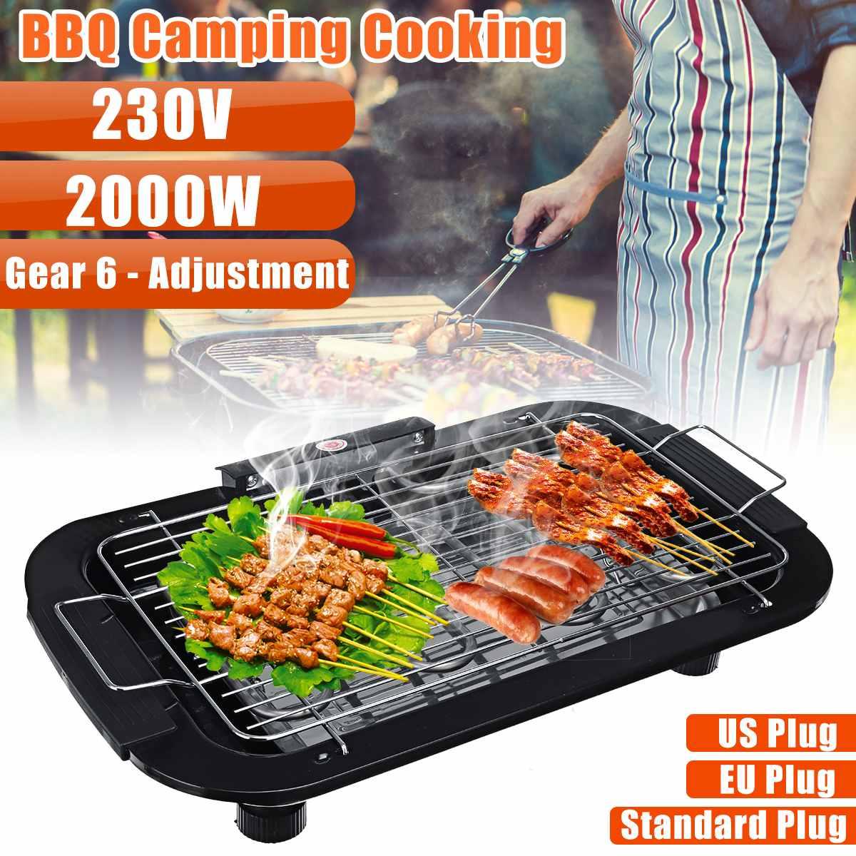 Портативная Бездымная электрическая сковорода 230 В, гриль для барбекю, электрическая сковорода для барбекю, 6 режимов температуры для дома и кемпинга|Электрические грили и сковороды|   | АлиЭкспресс