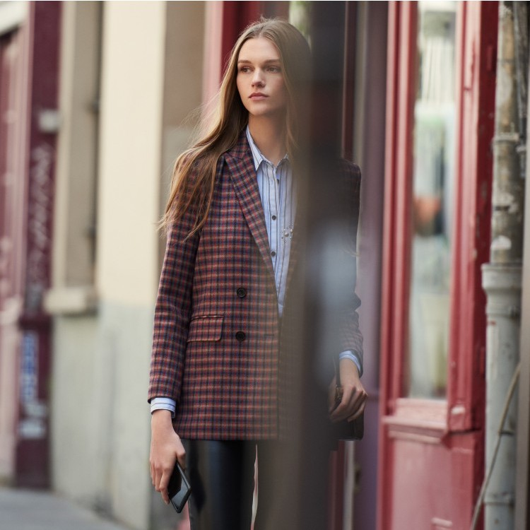 2019 autumn and winter new classic houndstooth plaid  long-sleeved women blazer coat