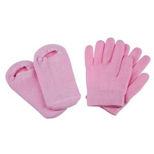 Beleza spa meias e luvas hidratante gel terapia cuidados com a pele-rosa