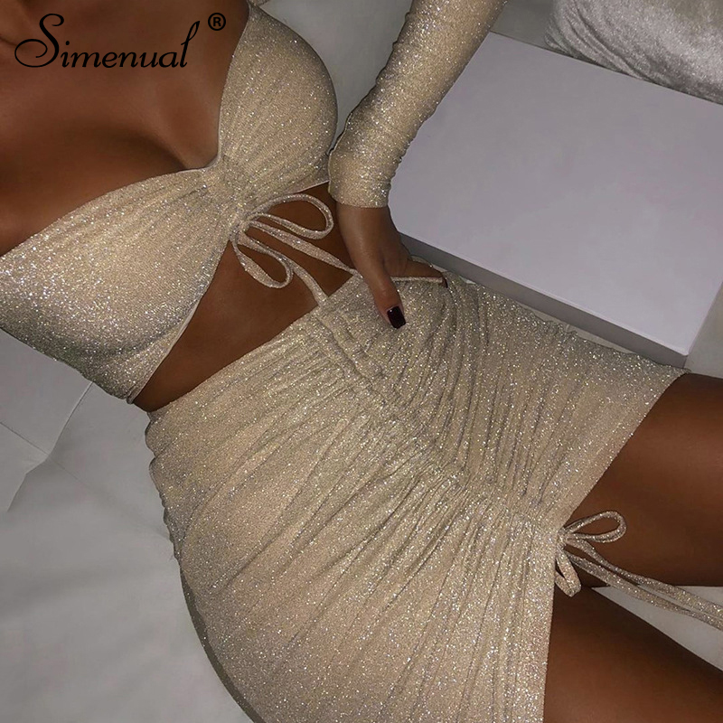 Simenual Drawstring Sexy Glitter Matching Set Women Party Off Shoulder Fashion 2 Piece Outfits Long Sleeve Top And Skirt Sets
