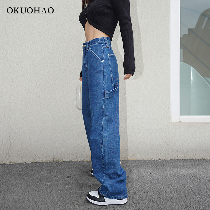 Wide Straight Leg Jeans Woman High Waist Blue Denim Pants Female Aesthetic Baggy Mom Jean Fashion Plus Size Trouser Streetwear