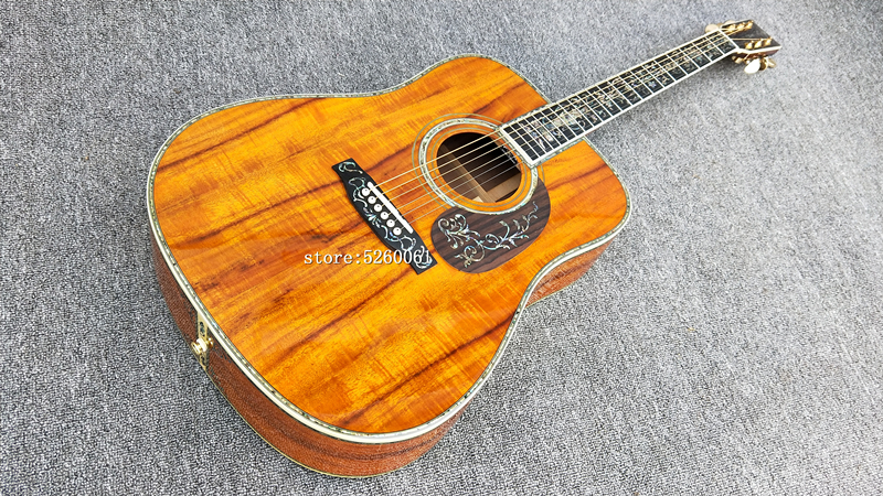 Guitare acoustique KOA de haute qualité d'usine chinoise, touche en ébène véritable incrustation de coquille d'ormeau, guitare électrique