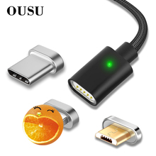 OUSU 2.4A Fast Charging 3 in 1 Magnetic Cable For iphone Lightning USB Type C cabel samsung s10 9 8 Micro