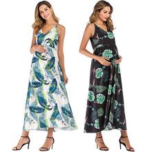 2021 New Women Floral Summer Sleeveless Maternity Dresses Photography Casual Midi Beach Dress Pregnancy Clothes
