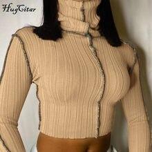 Hugcitar 2020 z długim rękawem na szyję Sexy krótki Top zima kobiety moda Streetwear Patchwork klub Y2K koszulki koszulki
