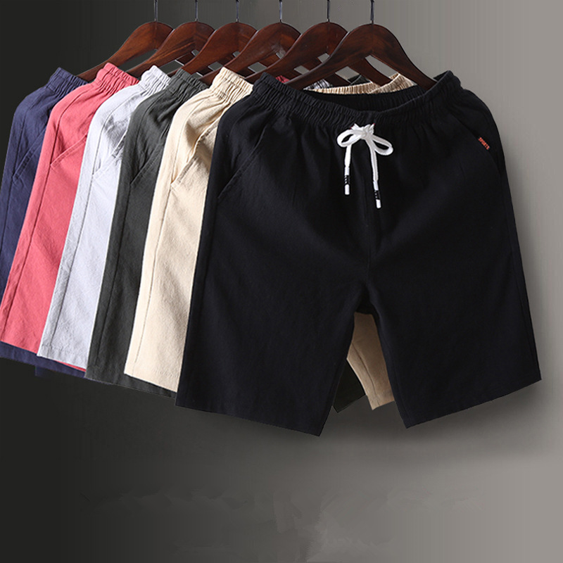 Summer Pure Cotton Shorts Men 5 Shorts Bermuda Shorts Large Size Loose-Fit Beach Shorts Large Trunks