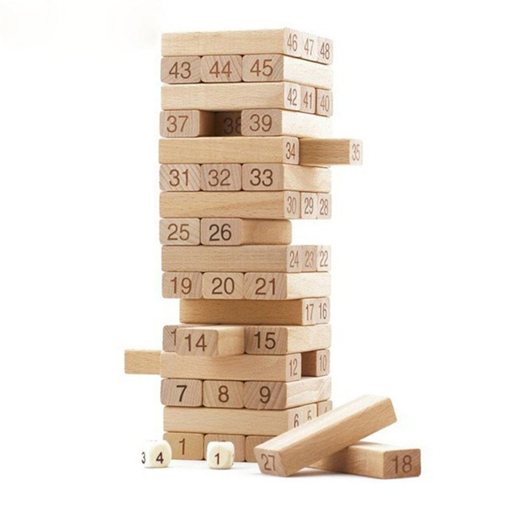 54 Pieces Number Toppling Timbers Wooden Blocks Toys Game Stacking Blocks Stacking Tower Fun Outdoor Game Educational Toy Gift
