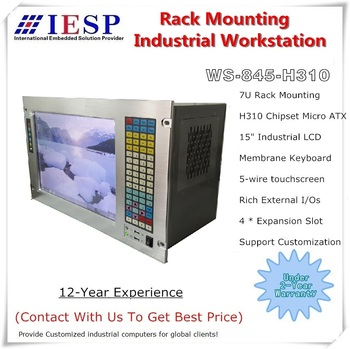"""7U Rack Mount Industrial Workstation, 15"""" LCD, H310 Chipset, 8th generation CPU, rich I/Os and expansion, rack mount computer"""